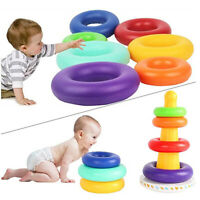 Kids Baby Toy Wooden Stacking Ring Tower Educational Toys Rainbow Stack Up Gifts