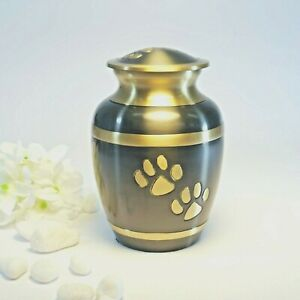 Grey and GoldPet Cremation Urn with Paw Prints