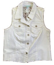 NEW W/tag Maurices Women's Denim Vest Crochet Lace Back Size 0 White Retail $44