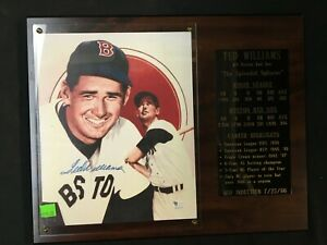 TED WILLIAMS SIGNED PLAQUE WITH CERT ON BACK