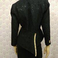 Vintage 80s Julie Duroche Evening Jacket Womens Size 10 Black Jeweled Brocade