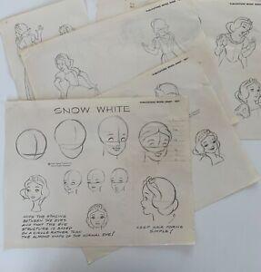 Vintage 1971 Disney SNOW WHITE 5 Publicity Model Sheets 14x11