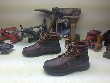 WORN TIMBERLAND BROWN LEATHER GREEN CANVAS LACE UP ENGINEER TRAIL BOSS BOOTS 8W