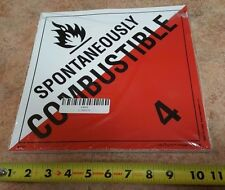 """New listing (100) Qty of Spontaneously Combustible 4, Dot Peel&Stick Placard 10.75""""x10.75"""""""