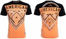American Fighter Mens S/S T-Shirt MARTELL Athletic BLACK ORANGE Biker S-3XL $40