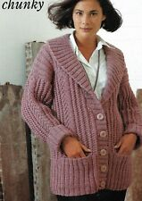 "1047 Ladies Girls Chunky Jacket 28-42"" Vintage Knitting Pattern"