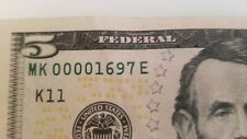 $5 Fancy Low serial Number Four starting zeros 00001697