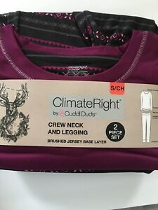 Small ClimateRight Cuddl Duds 2pc Set Layering  Crew Neck & Legging SMALL Plum