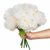 White 2 Pack Silk Flowers Bouquet 10 Heads Peony Fake Flowers Wedding Home Decor