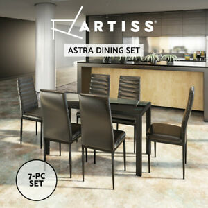 Artiss 7-pc Dining Table and Chairs Set Glass Tables Leather Seat Chair Black
