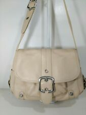 B makowsky leather beige large flap shoulder bag with multi colored lining