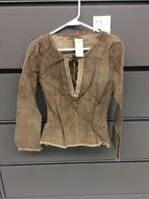 ARDEN B SIZE SMALL LEATHER LONG SLEEVE SEXY COWGIRL SHIRT WITH LACE TRIM NWT P-6