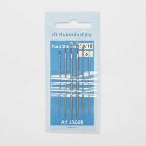 Size 14/18 lDARNERS HAND SEWING NEEDLES - EASY THREAD DARNING NEEDLE - PACK OF 6