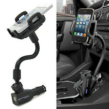Car Cigarette Lighter Mount Holder 2 USB Charger For Galaxy S3 S4 S5 Note 2 3 4