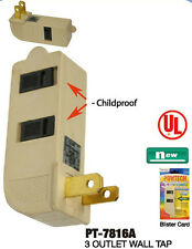 TRIPLE OUTLET GROUNDED ELECTRIC WALL 3 WAY TAP POWER ADAPTER CHILD PROOF UL