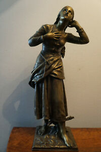 Jugendstil Historismus Metall Figur Jeanne D'Arc Jungfrau Orleans  1880
