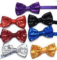 Sequin Satin Shiny Bow Tie Dickie Show Sparkly Fancy Dress Magic Mens Boys
