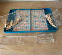 Vintage Scrabble Board Game ~ Teal Blue Travel Edition ~l For Parts Or Repair