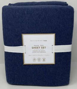 Pottery Barn Teen Favorite Fave Tee QUEEN Sheet Set ~ Navy Blue