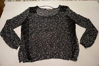 Skies Are Blue Stitch fix Women Blouse S Small floral lace black white New