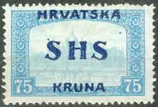Yugoslavia SHS Croatia 1918, 75fil. Parliament Error Wrong Type of Overprint MH