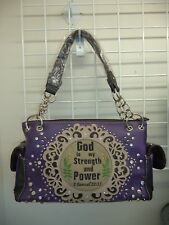 GOD IS MY STRENGTH AND POWER HANDBAG PURSE  - CONCEAL CARRY - PURPLE