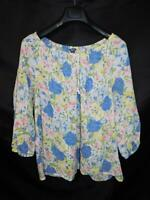Chaps L White Pink Blue Yellow Floral Shirt Tie Elastic Neck 3/4 Sleeve Summer L