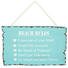 Beach Rules Sign Blue Aqua Wooden Hanging Wall Plaque Theme Coastal Home Decor