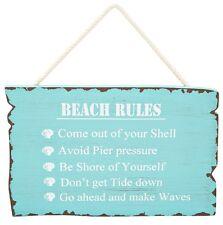 Beach Rules Sign Blue Aqua Wooden Hanging Wall Plaque Theme Coastal Home Decor