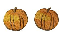 #4487 Lot 2Pcs Fall Pumpkin Embroidery Iron On Applique Patch