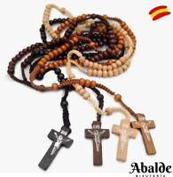 Rosario Collar Colgante Madera Cruz Jesús Crucifijo Regalo Mujer Hombre Santa