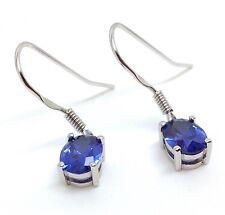 tanzanite colour Siberian quartz Oval Drop Earrings, Solid Sterling Silver. New.