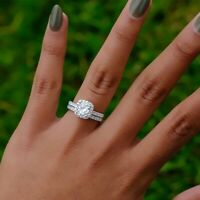 925 Silver White Sapphire Rings Set Wedding Engagement Bridal Jewelry For Women
