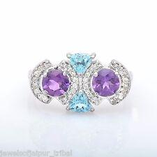 Round Amethyst Trillion Blue Topaz CZ Gemstone 925 Sterling Silver Ring Jewelry