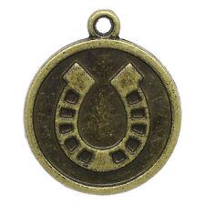 10 Disc Horseshoe Lucky Bronze Metal Pendant Charms chb0175