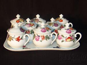 Porcelaine De Paris Limoges Les Quatre Saisons 8 Pot de Creme & Tray