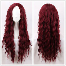 75cm Long wavy Curly Wine Red Fashion Wig No Bangs hair wig + a wig cap