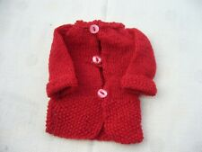 Doll vintage hand made red woolen knitted cardigan jacket coat