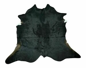 Brazilian Cowhide Rug Pure Natural Black Natural Real Exotic 6ft X 6ft Inches