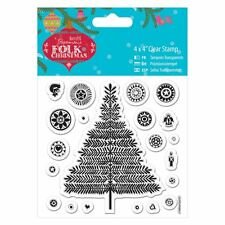 """Do-crafts 4 x 4"""" Clear Stamp - Folk Christmas - Christmas Tree for cards/crafts"""
