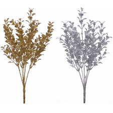 ARTIFICIAL FLOWERS CHRISTMAS GLITTERED EUCALYPTUS BUNCH GOLD OR SILVER