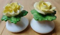 Vintage Aynsley Bone China Yellow Rose & Carnation Salt & Pepper Shakers Mini