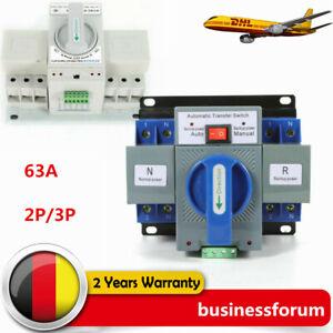 63A 2/3P Automatischer Umschalter Transfer Switch Dual Netzteil Transferschalter