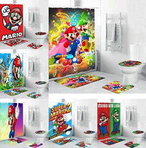 Super Mario Bathroom Set 4PCS Shower Curtain Set Anti-Slip Toilet Lid Mat Cover