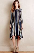 Anthropologie Dress Swing Hi Lo plum blue tan Pleated Striped Knit S NEW $148