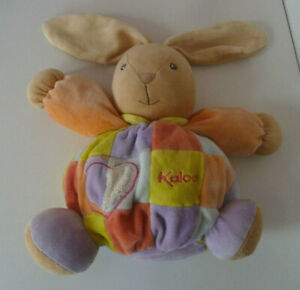 Kaloo Chubby Bunny Rabbit Doudou Baby Comforter Soft Plush Toy Patchwork 9""