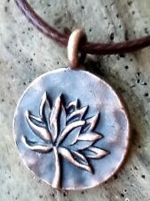 """The Jewel is in the Lotus  Copper Hand Crafted Necklace 18"""" Cord Casual Yoga"""