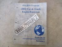 2001 FORD Car Truck Engine Emissions Facts Summary Book Manual OEM