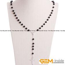 Cross Pendant Necklace Pearl Prayer Rosary Crucifix Catholic Christian Women