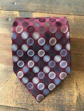 Van Heusen Men's Necktie-Tie-Fashion Accessory-Red Silver Polka Dot-100% Silk